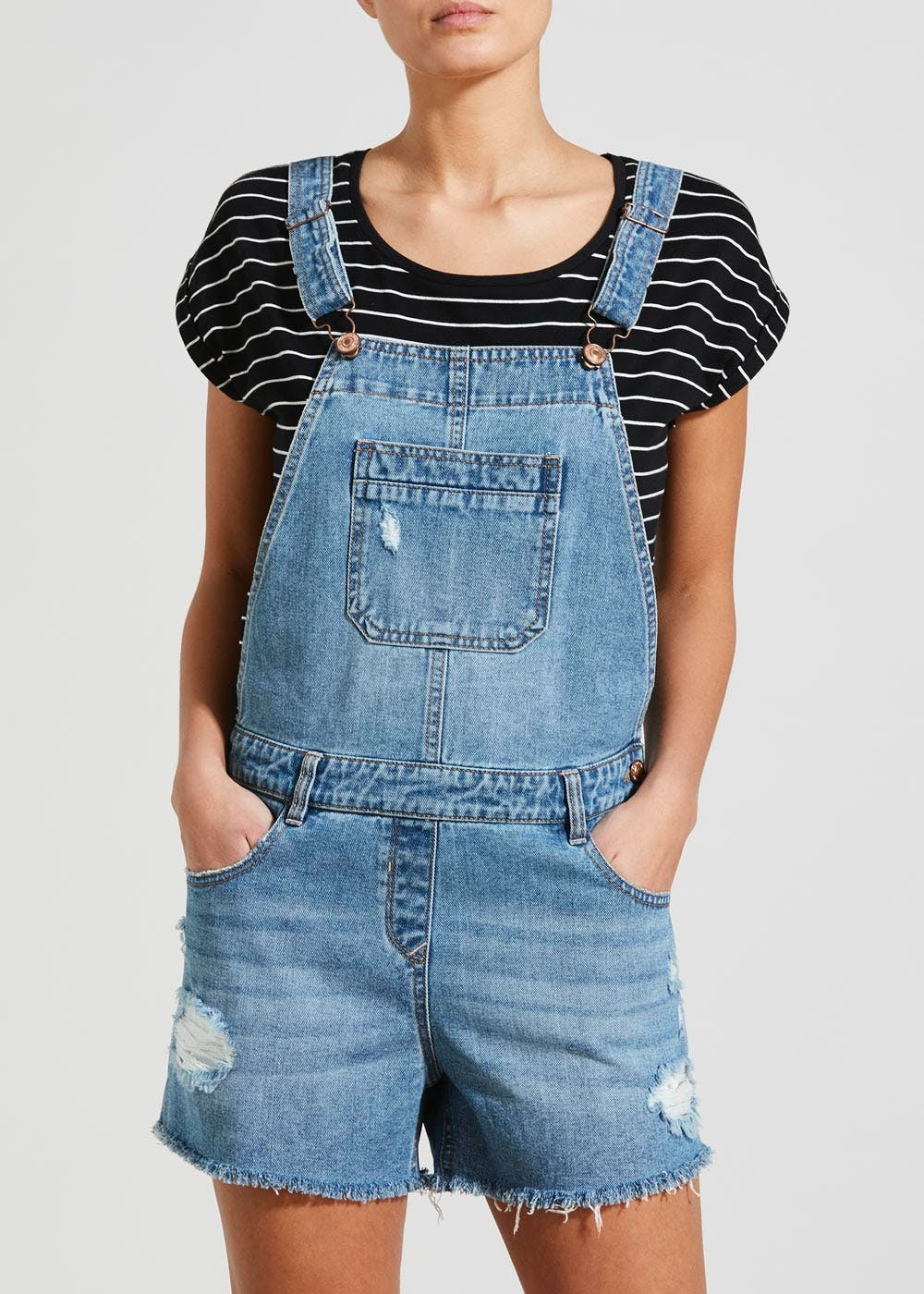 cheaper elegant shape new york Short Denim Dungarees