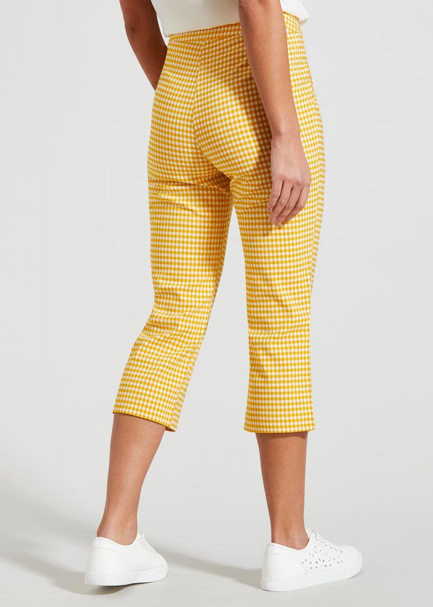 Gingham Cropped Bengaline Trousers