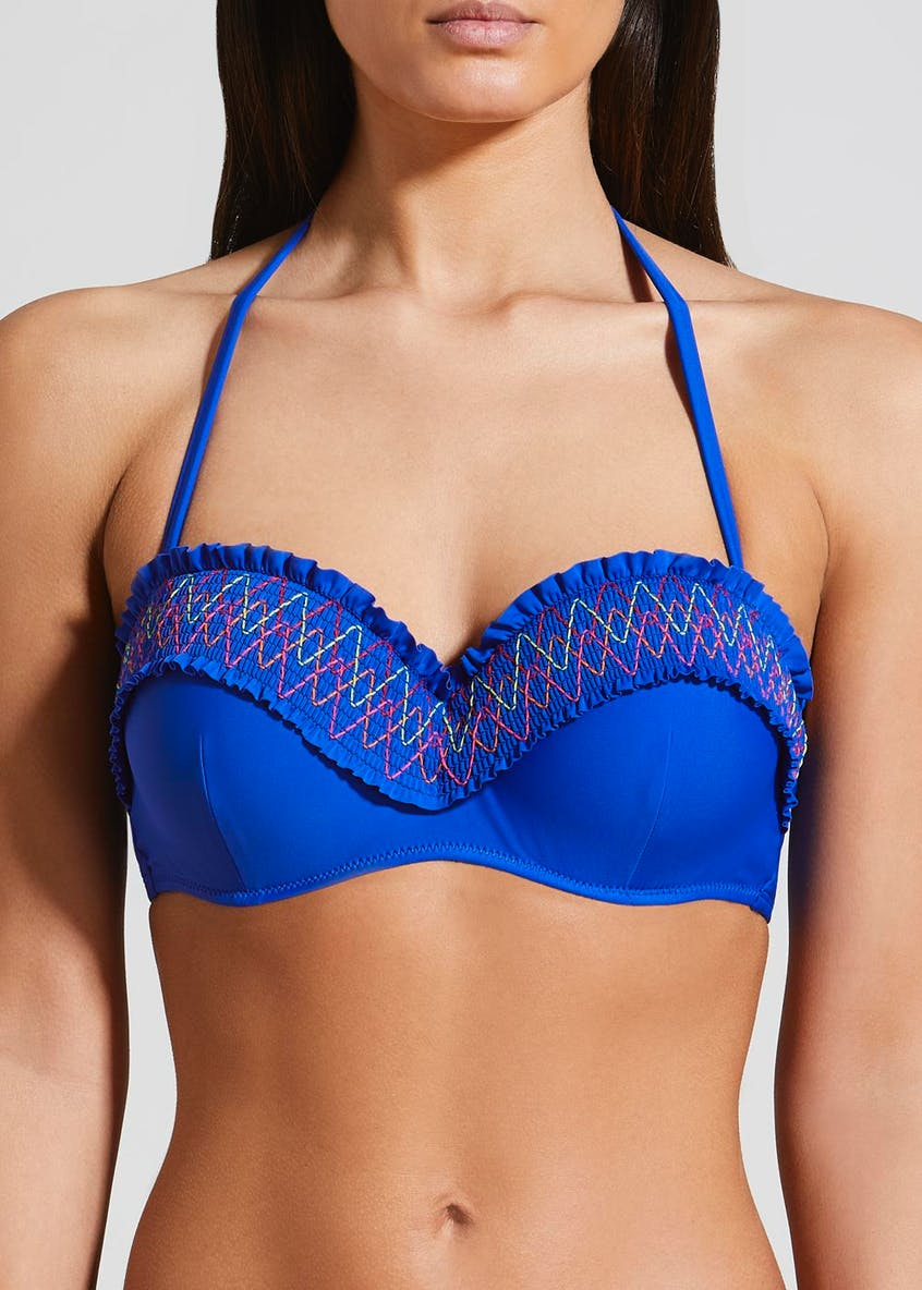 Shirred Stitch Bandeau Bikini Top