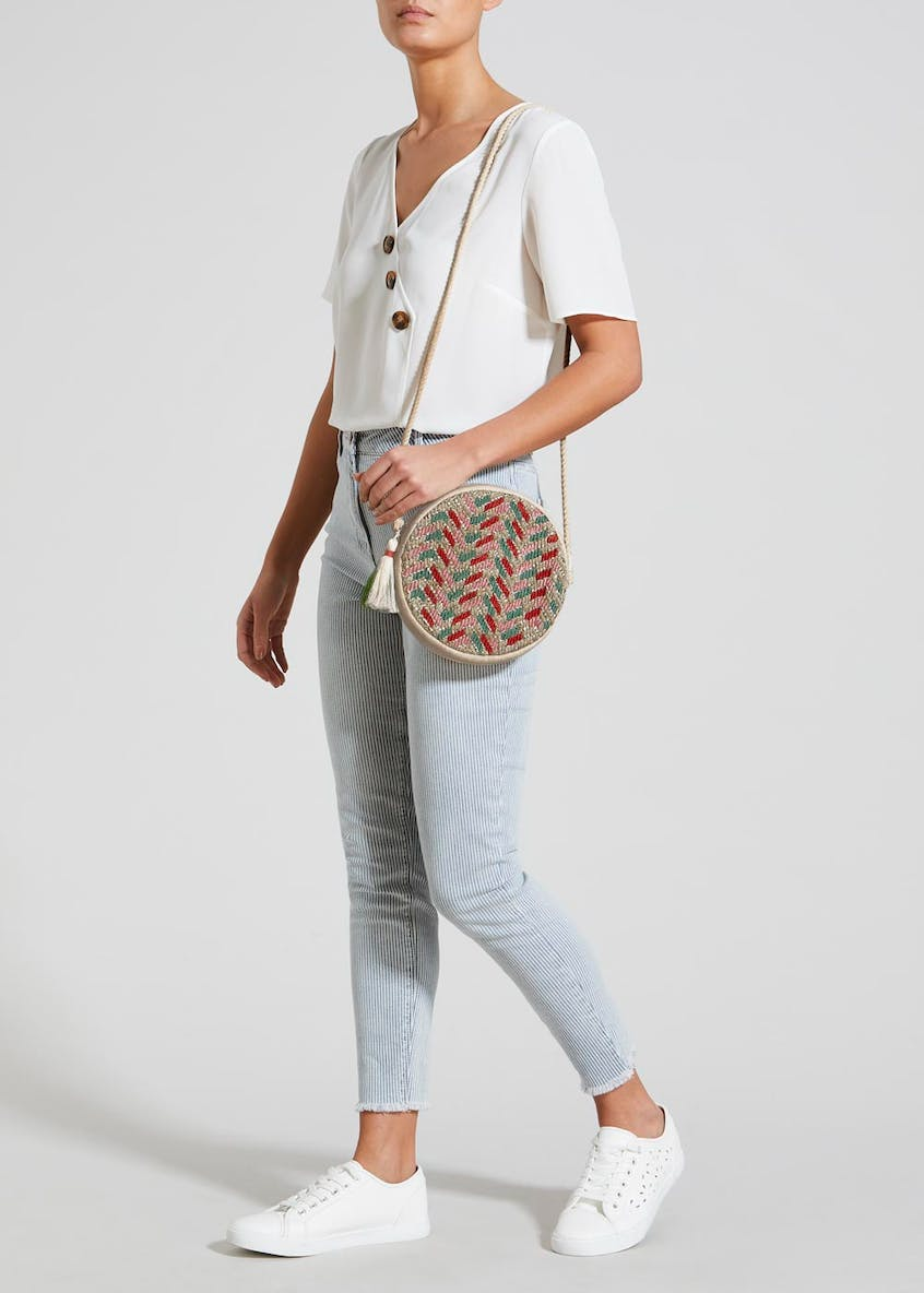 Jacquard Circle Cross-Body Bag