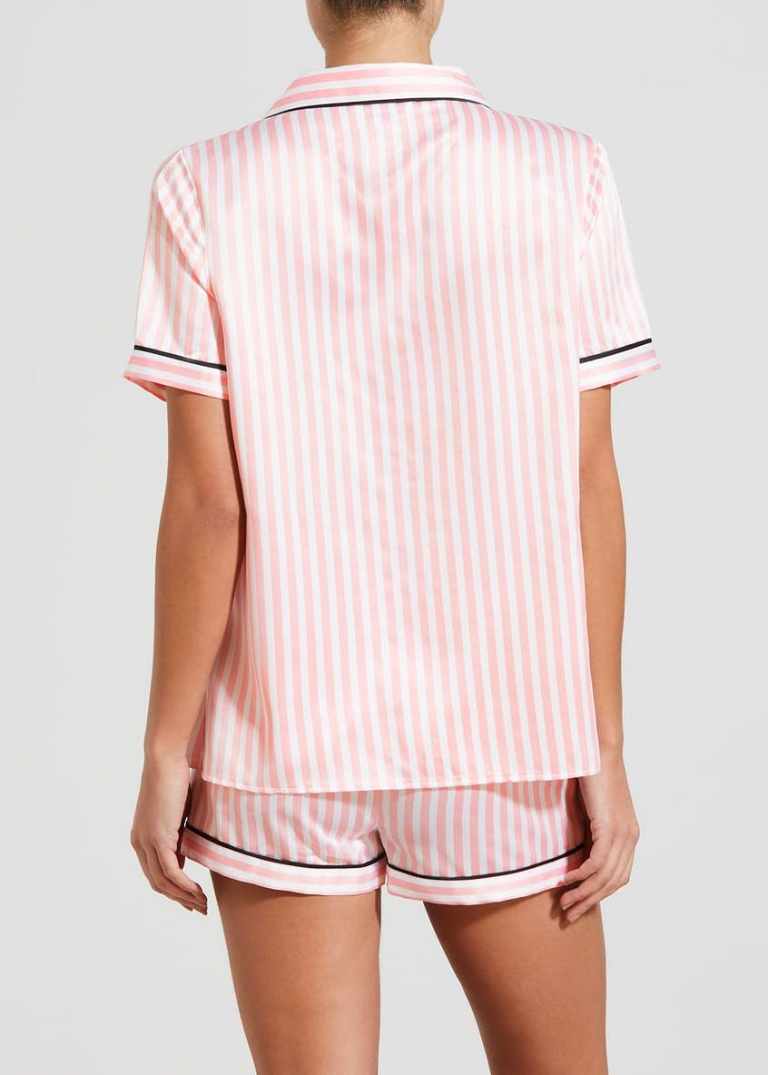 Team Bride Slogan Stripe Short Satin Pyjamas
