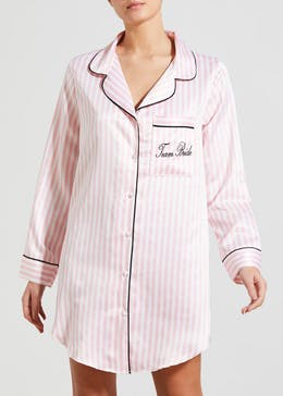 Team Bride Slogan Satin Nightshirt