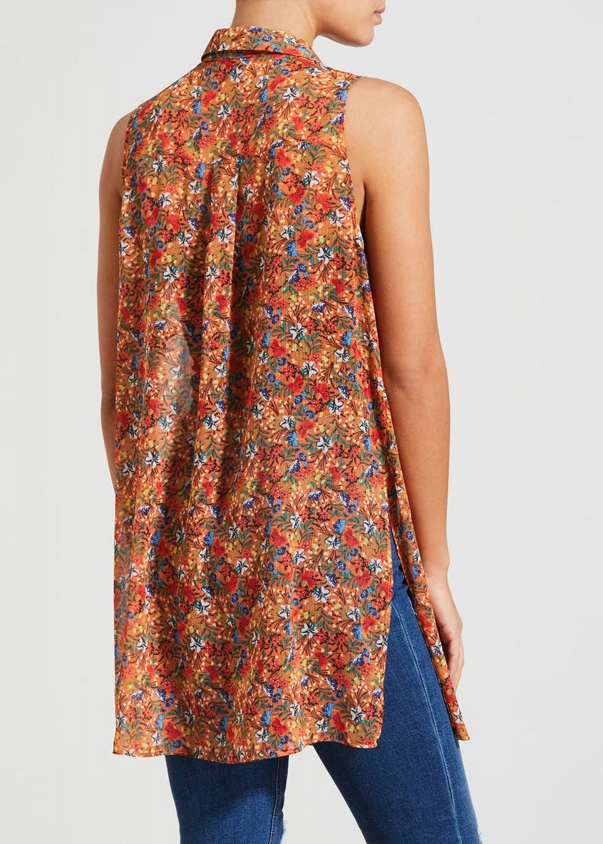 Floral Longline Sleeveless Shirt