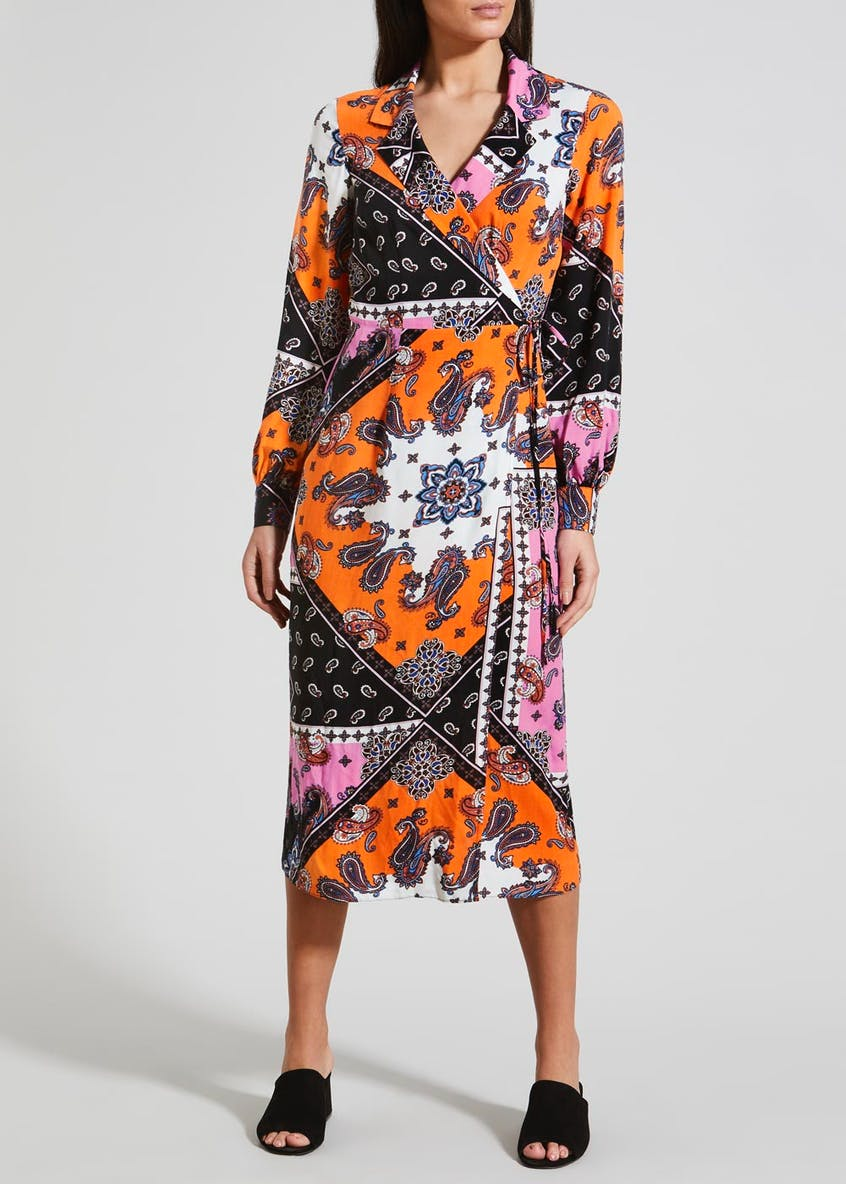 Scarf Print Midi Wrap Dress