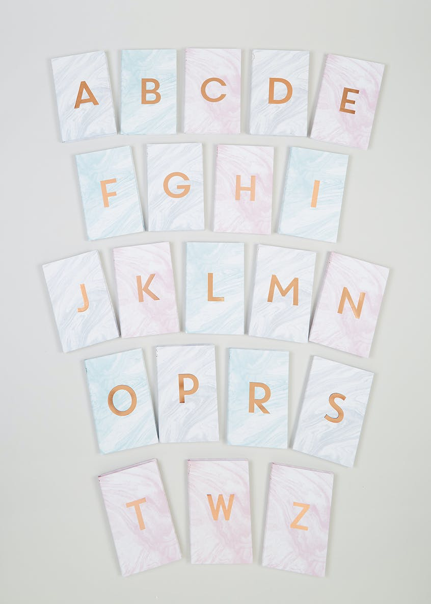 Alphabet Marble Notebook (17cm x 11cm)