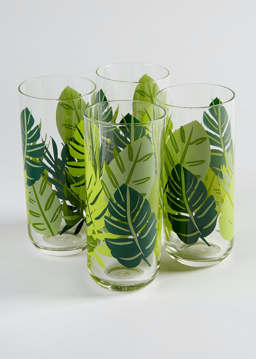 4 Piece Leaf High Ball Tumbler Glasses (14cm x 6cm)
