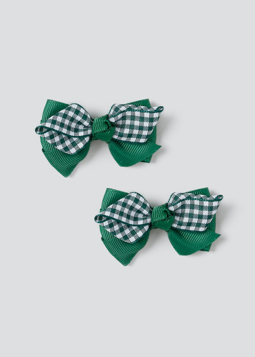 Gingham Bow Clips
