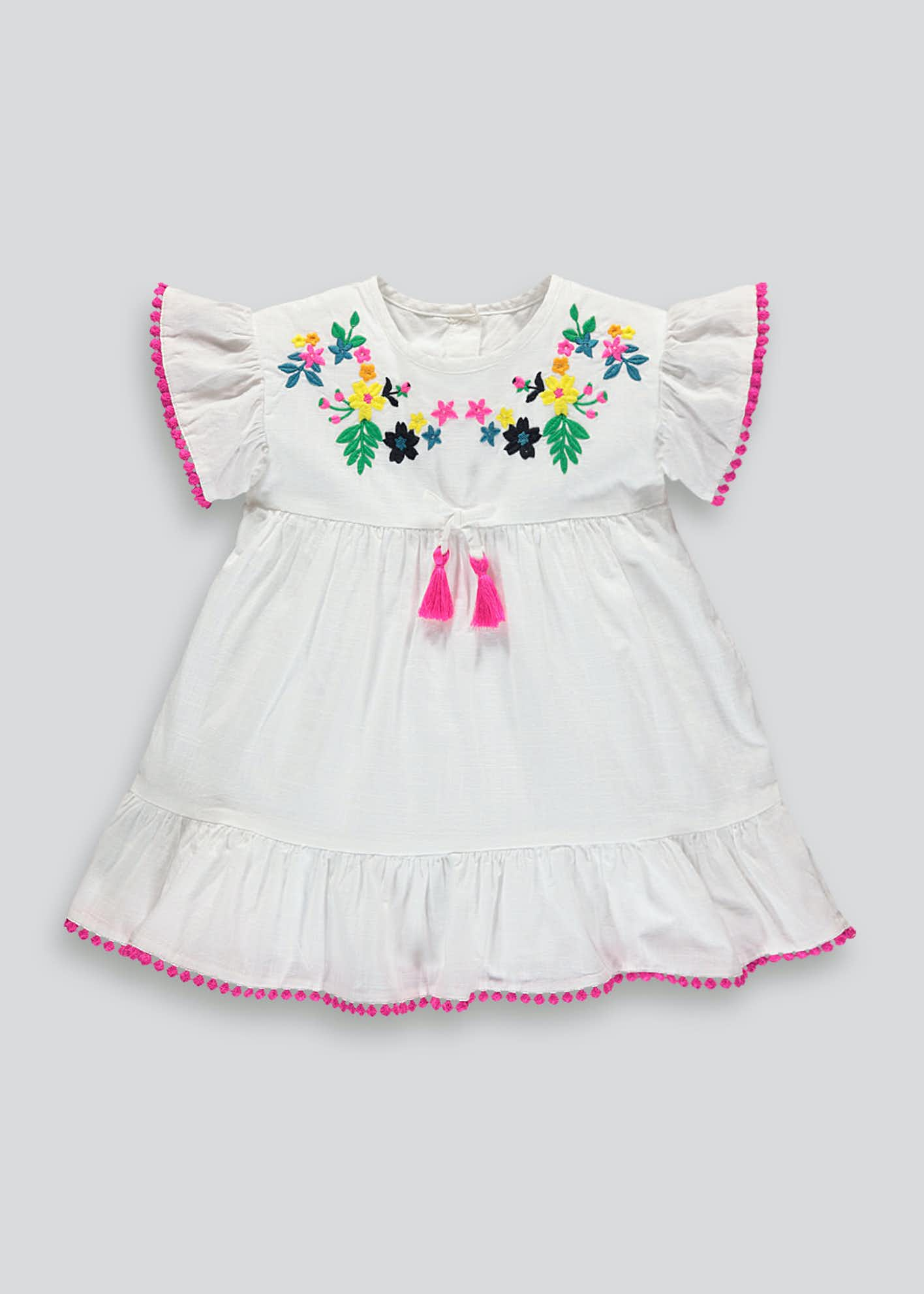 Girls Floral Embroidered Dress (9mths-6yrs)
