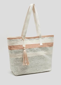 Metallic Stripe Fabric Tote Bag