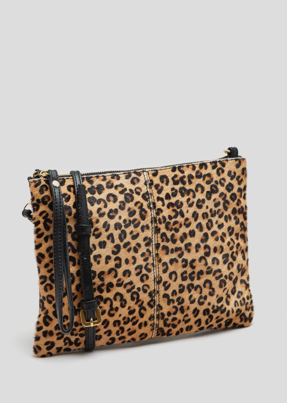 Animal Print Leather Clutch Bag Brown