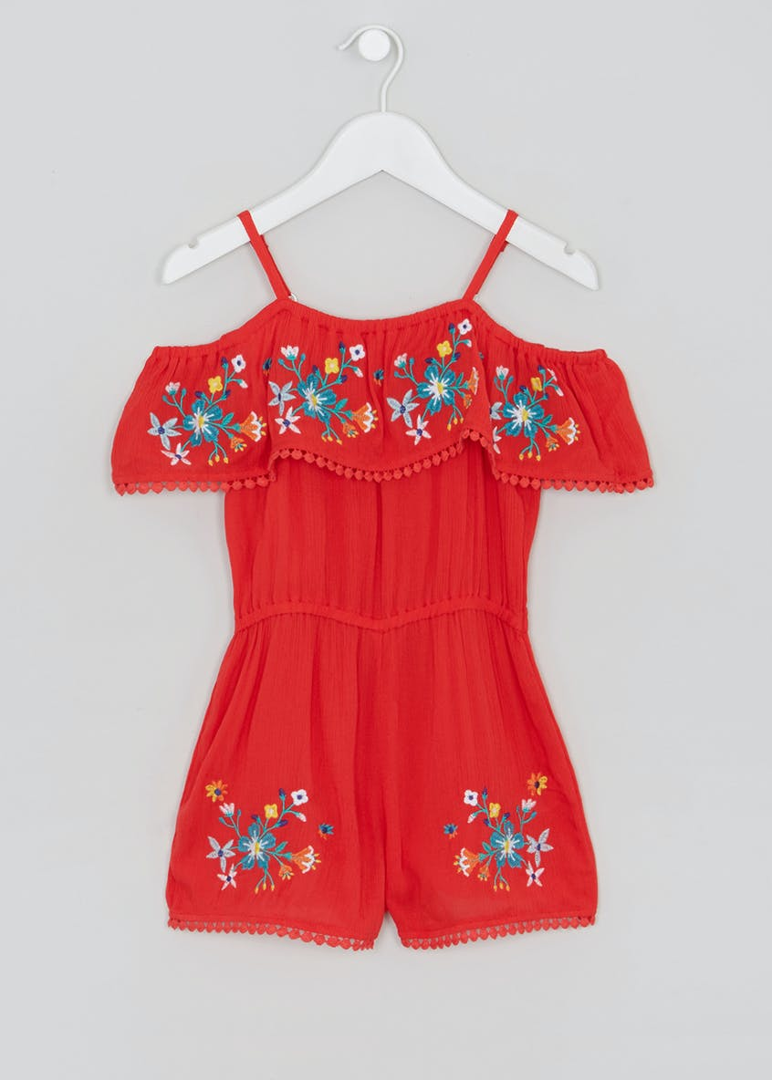 Girls Embroidered Floral Playsuit (4-13yrs)