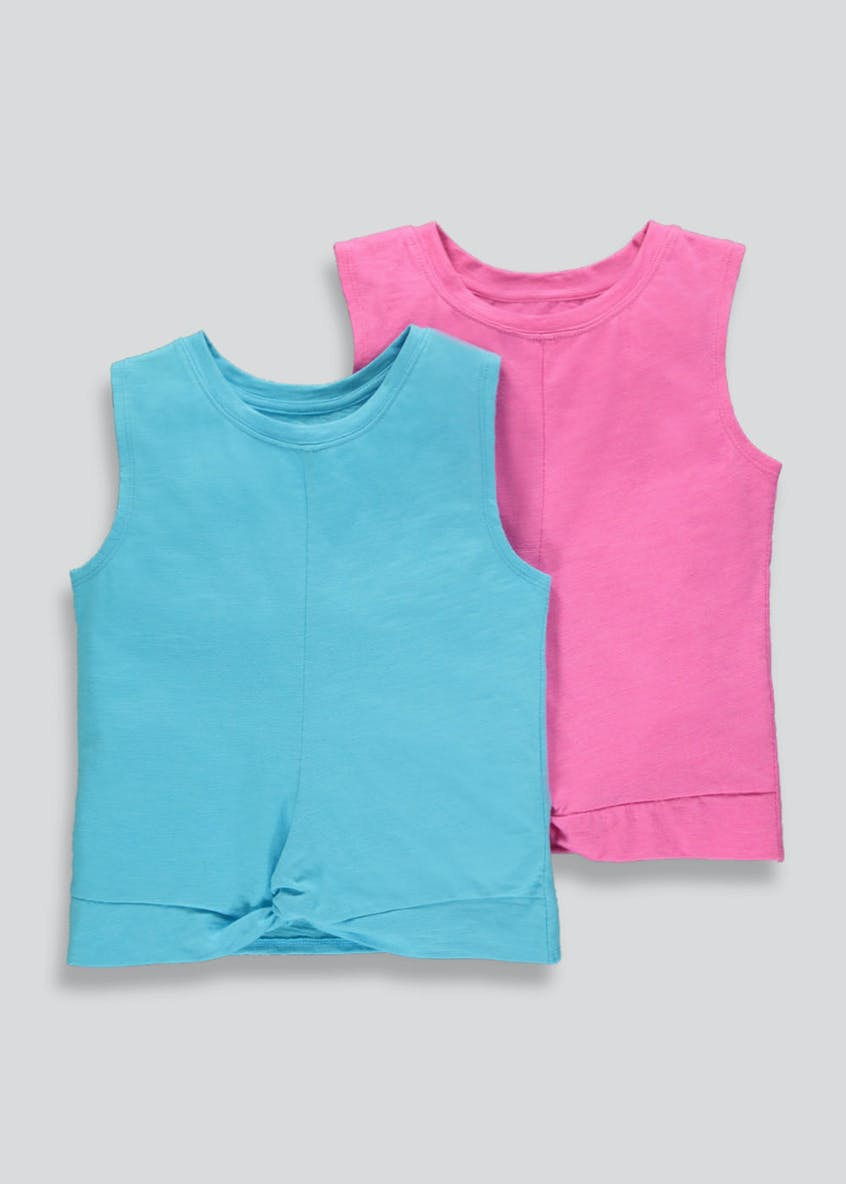 Girls Souluxe 2 Pack Tie Front Sports Vests (4-13yrs)