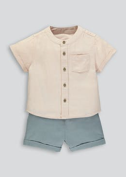 Boys Linen Shirt & Short Set (Newborn-18mths)