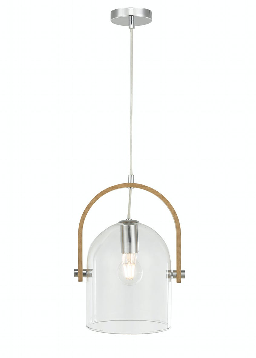 Eli Wood & Glass Pendant Light (H100cm-26cm x W24.4cm)
