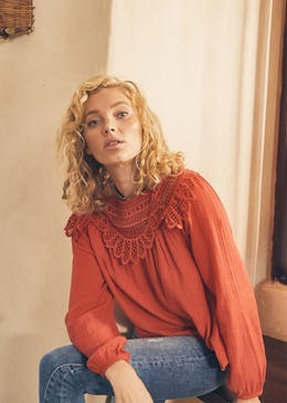 Falmer Embroidered Lace Yoke Blouse