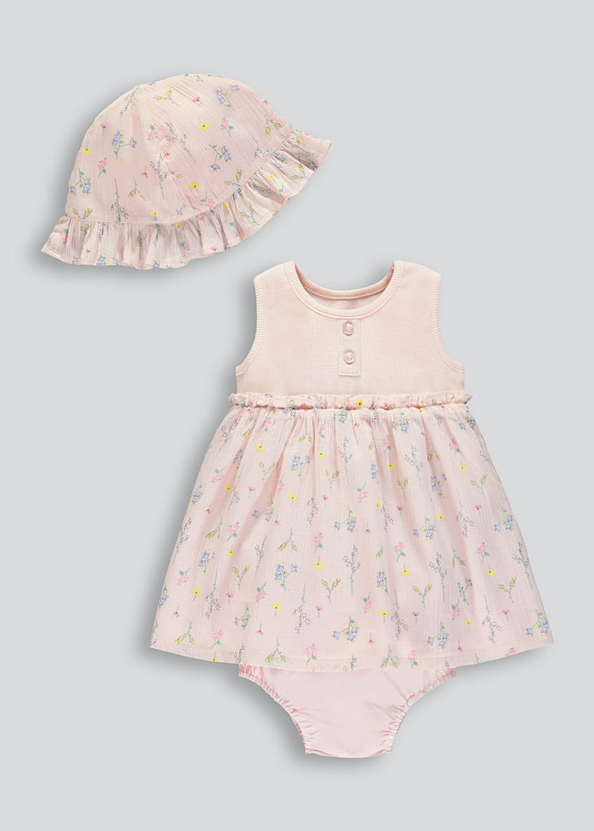 Girls Floral Dress & Sun Hat Set (Tiny Baby-23mths)