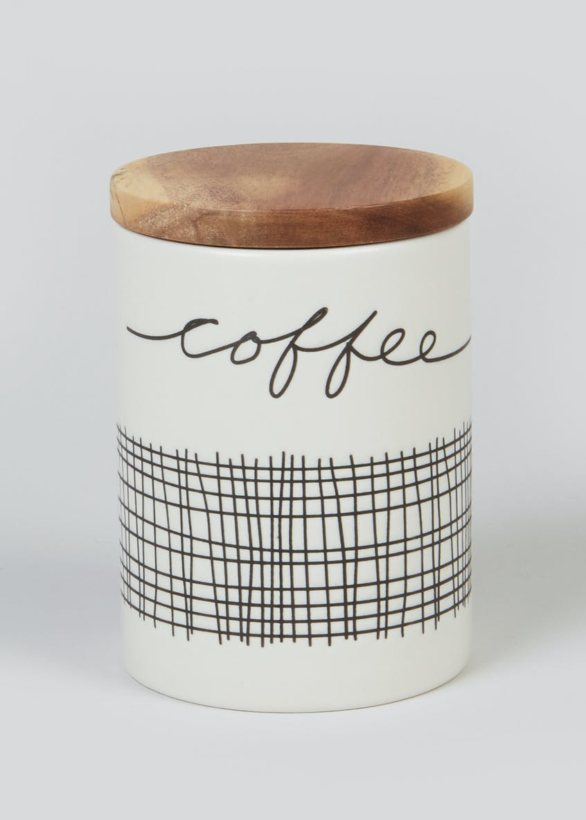 Stripe Ceramic Coffee Jar (14cm x 10cm)