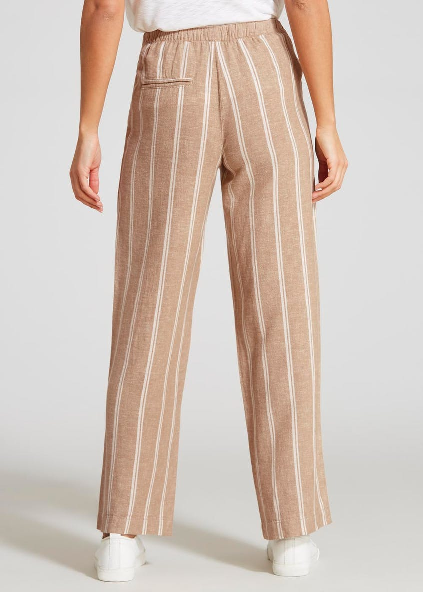 Stripe Linen Wide Leg Trousers
