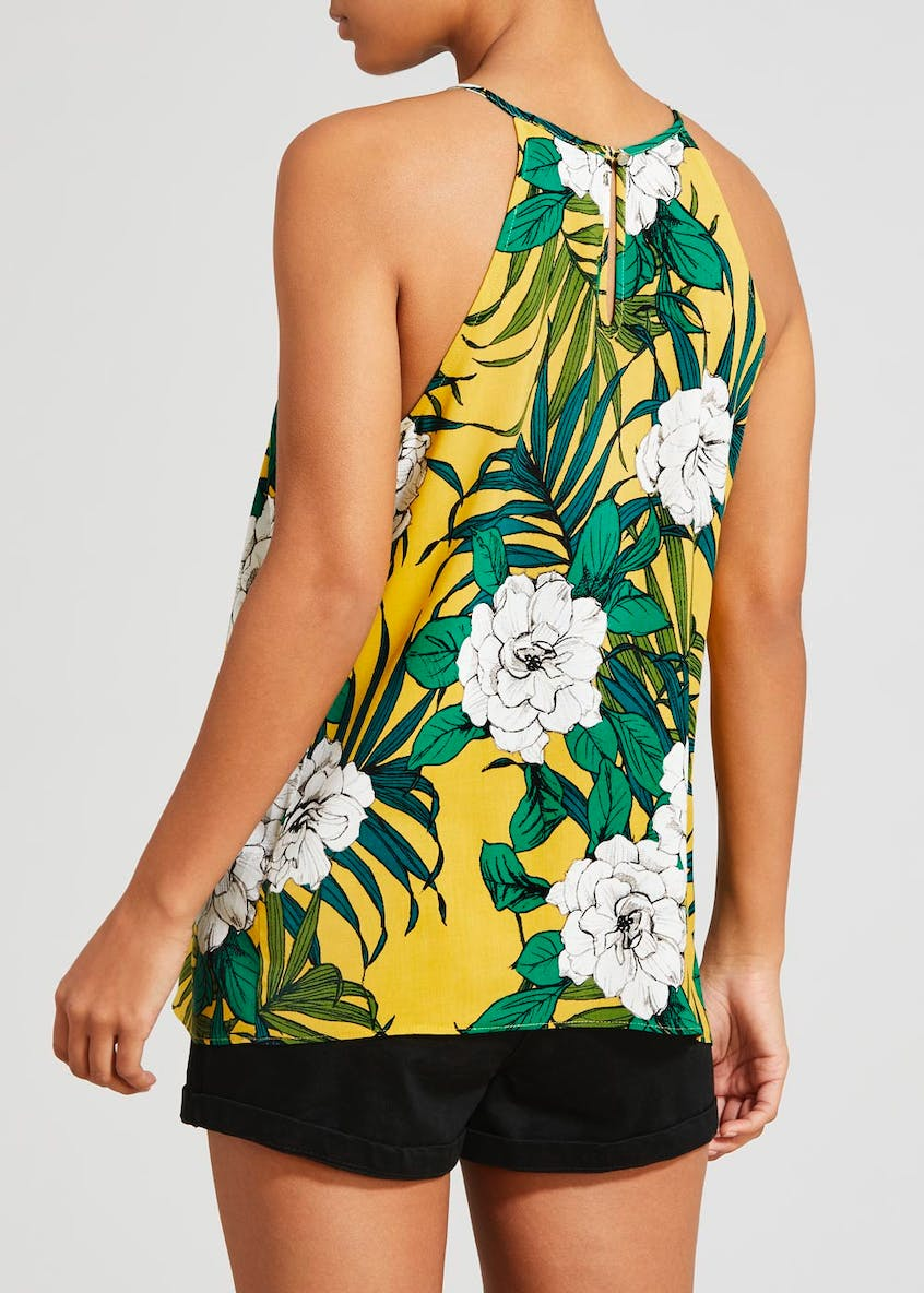 Floral Side Frill High Neck Cami