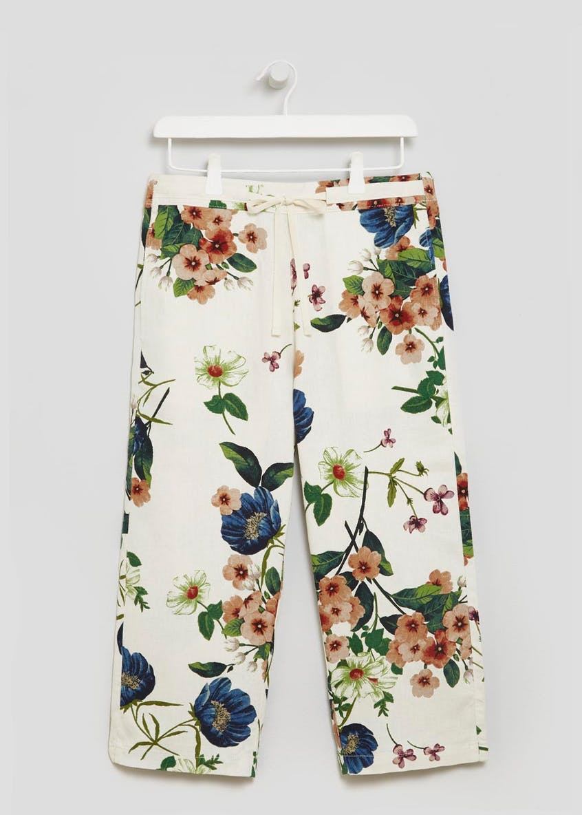 Floral Linen Cropped Trousers