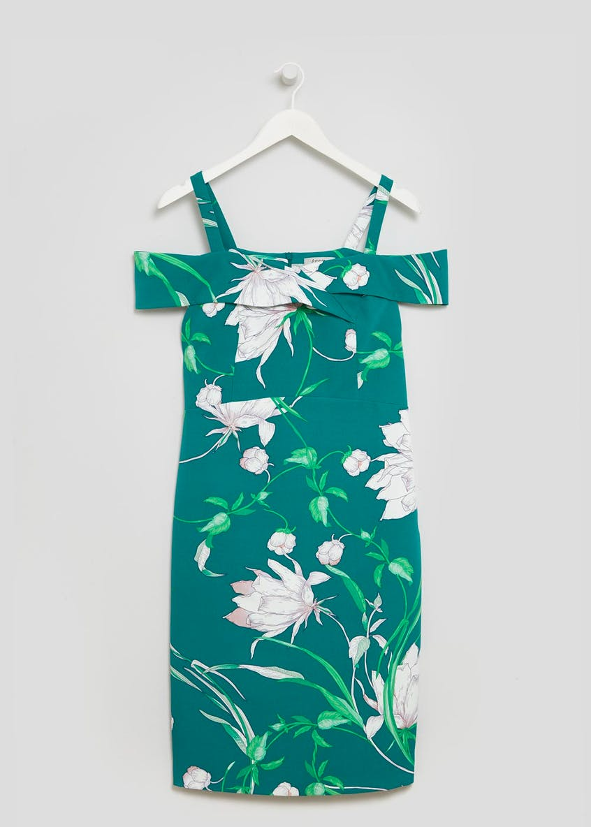 Soon Peony Floral Scuba Cold Shoulder Dress