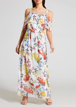 Soon Floral Cold Shoulder Maxi Dress