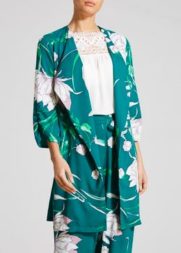 Soon Peony Floral Longline Waterfall Jacket