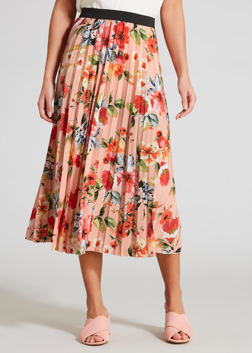 128929fb79 Floral Occasion Pleated Midi Skirt – Pink – Matalan