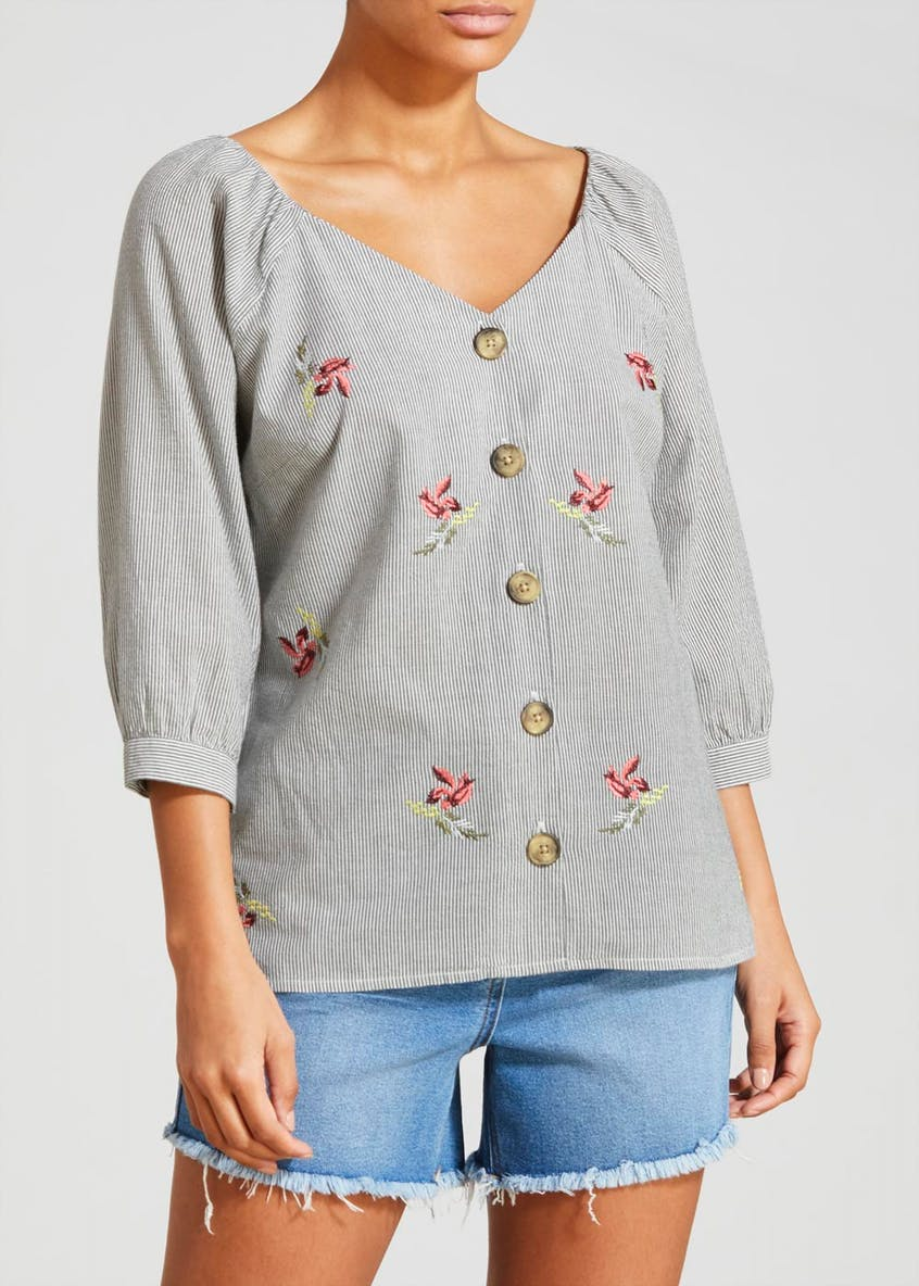 Stripe Floral Embroidered Blouse