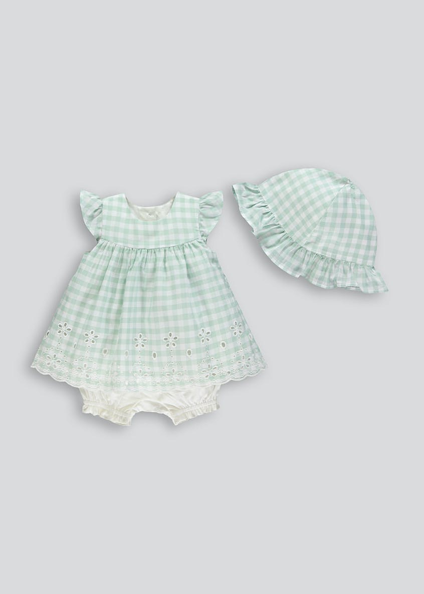 Girls Gingham Romper & Sun Hat Set (Newborn-18mths)
