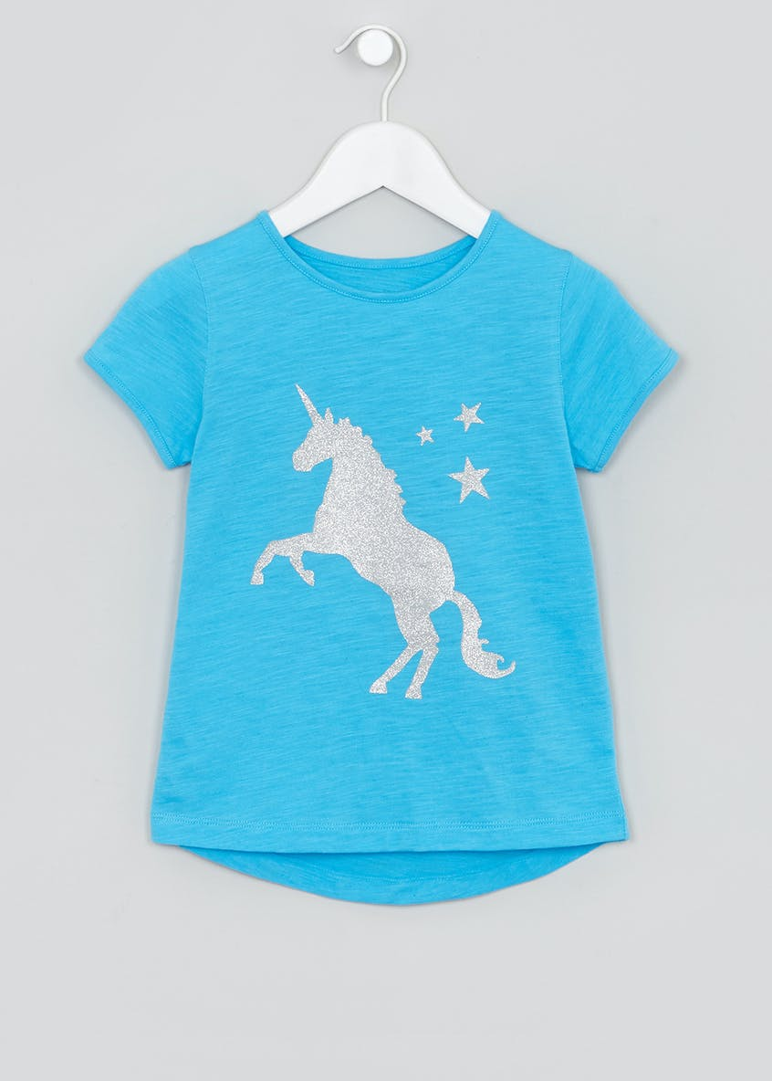 Girls Souluxe Glitter Unicorn T-Shirt (4-13yrs)