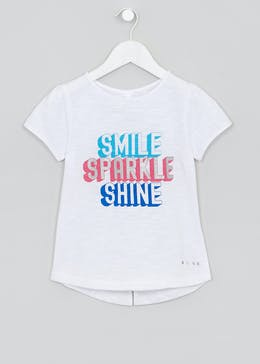 Girls Souluxe Glitter Smile Slogan T-Shirt (4-13yrs)