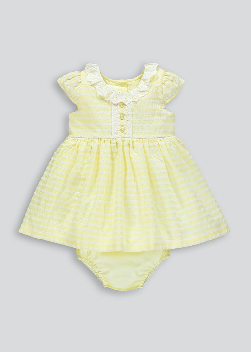 Girls Stripe Dress & Knickers Set (Newborn-18mths)