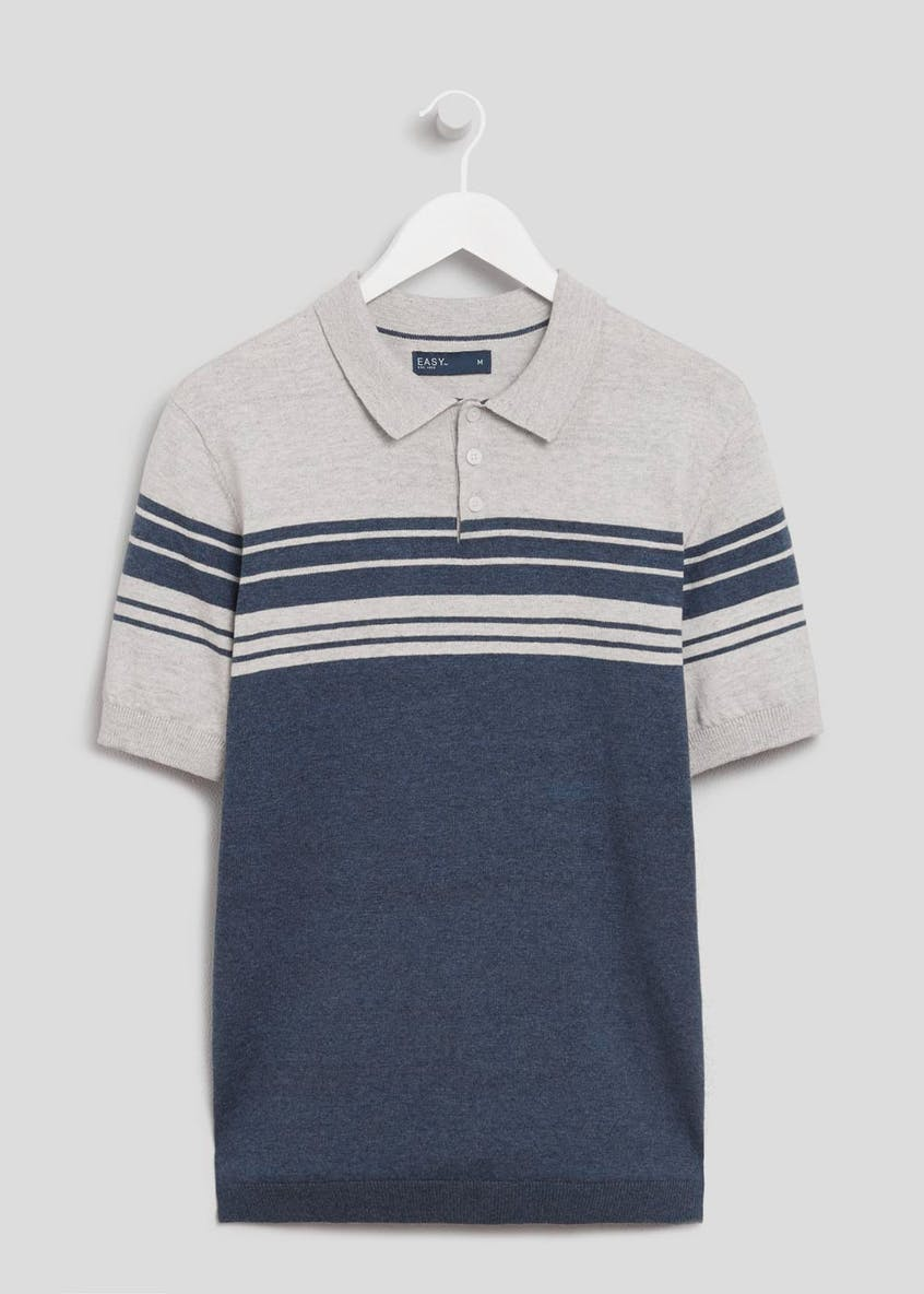 Block Stripe Knitted Polo Shirt