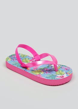 Mini Me Girls Tropical Flip Flops (Younger 4-12)