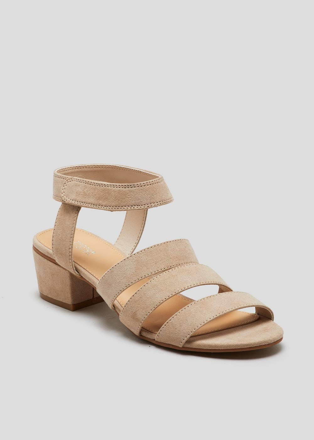 b4576b827141 Wide Fit Strappy Block Heel Sandals – Taupe – Matalan