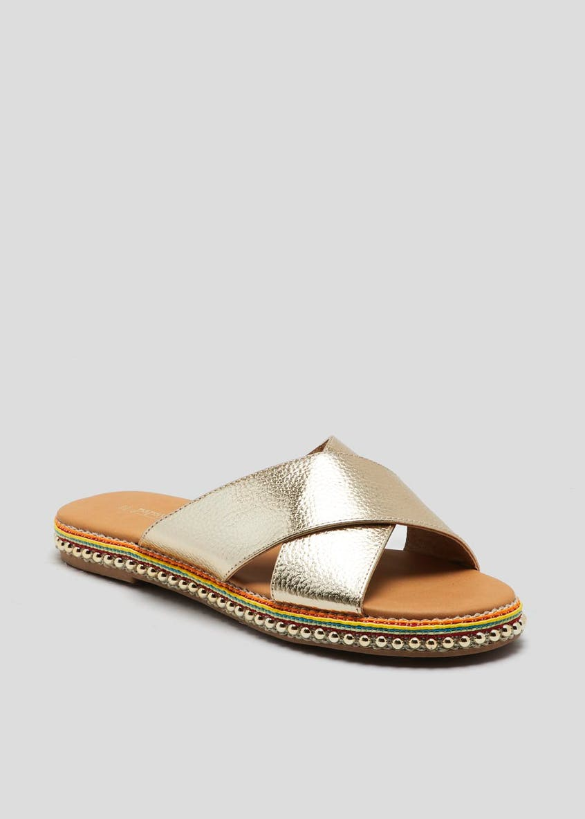 Cross Strap Beaded Mules