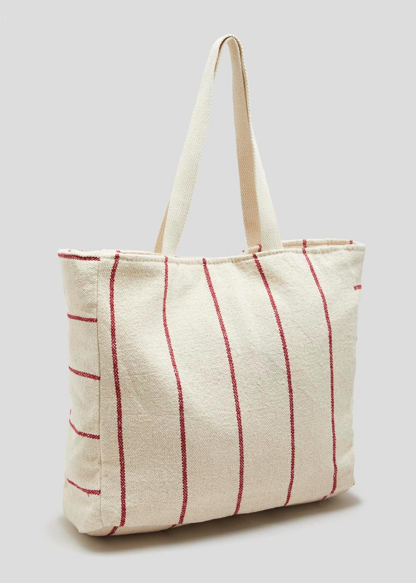 Stripe Linen Tote Bag