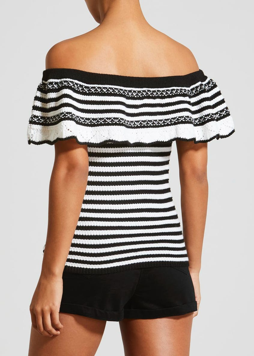 Stripe Knitted Bardot Top
