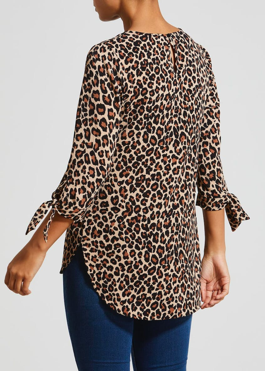 Animal Print Tie Sleeve Box Top