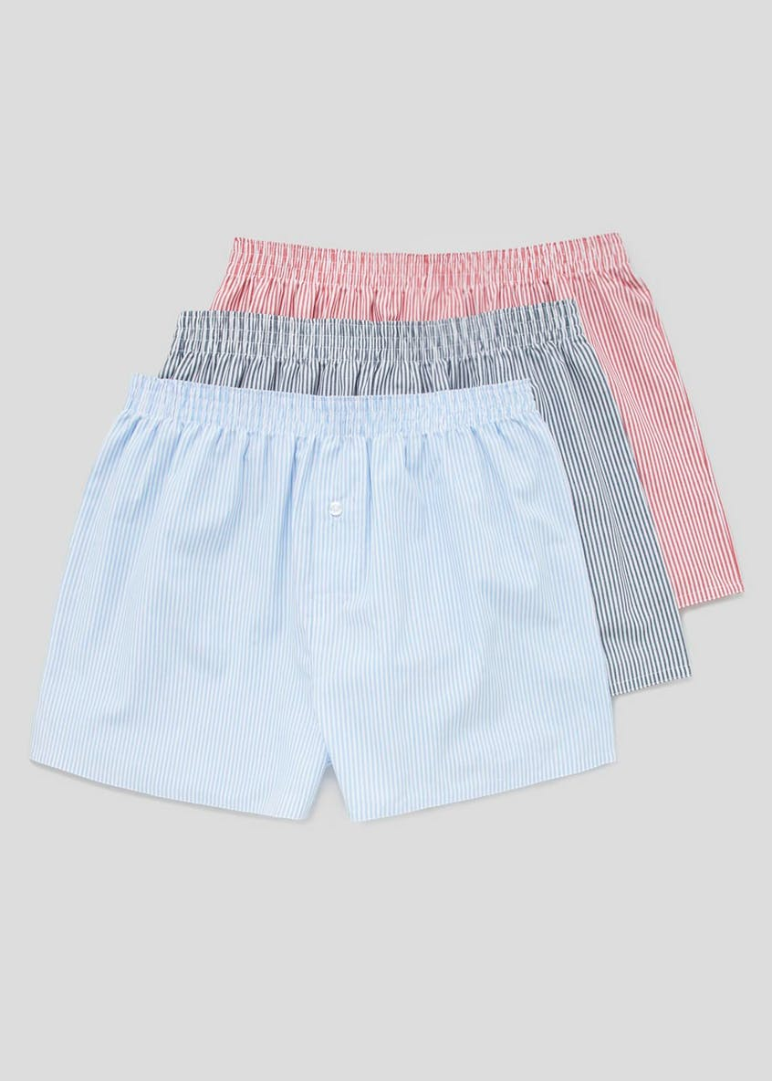 3 Pack Stripe Woven Boxers