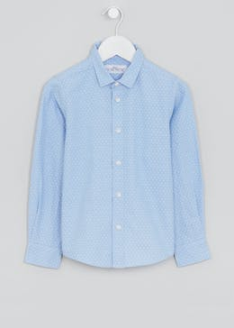 Boys Long Sleeve Geometric Oxford Shirt (4-13yrs)