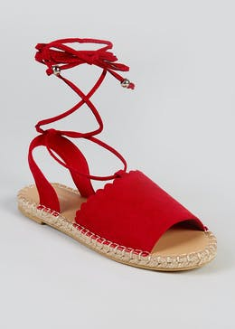 Wide Fit Scalloped Espadrille Sandals