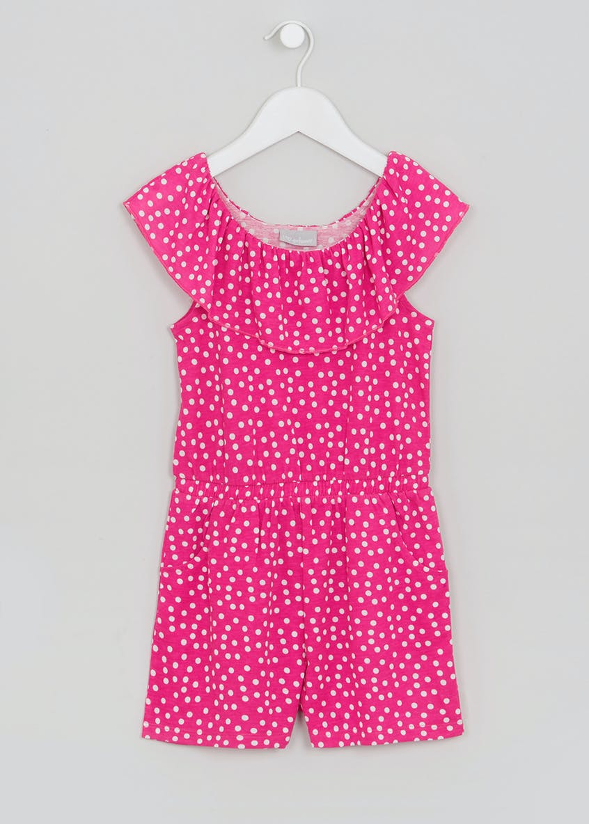 Girls Polka Dot Bardot Playsuit (4-13yrs)