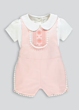 Girls Crochet Trim Playsuit & T-Shirt Set (Newborn-18mths)