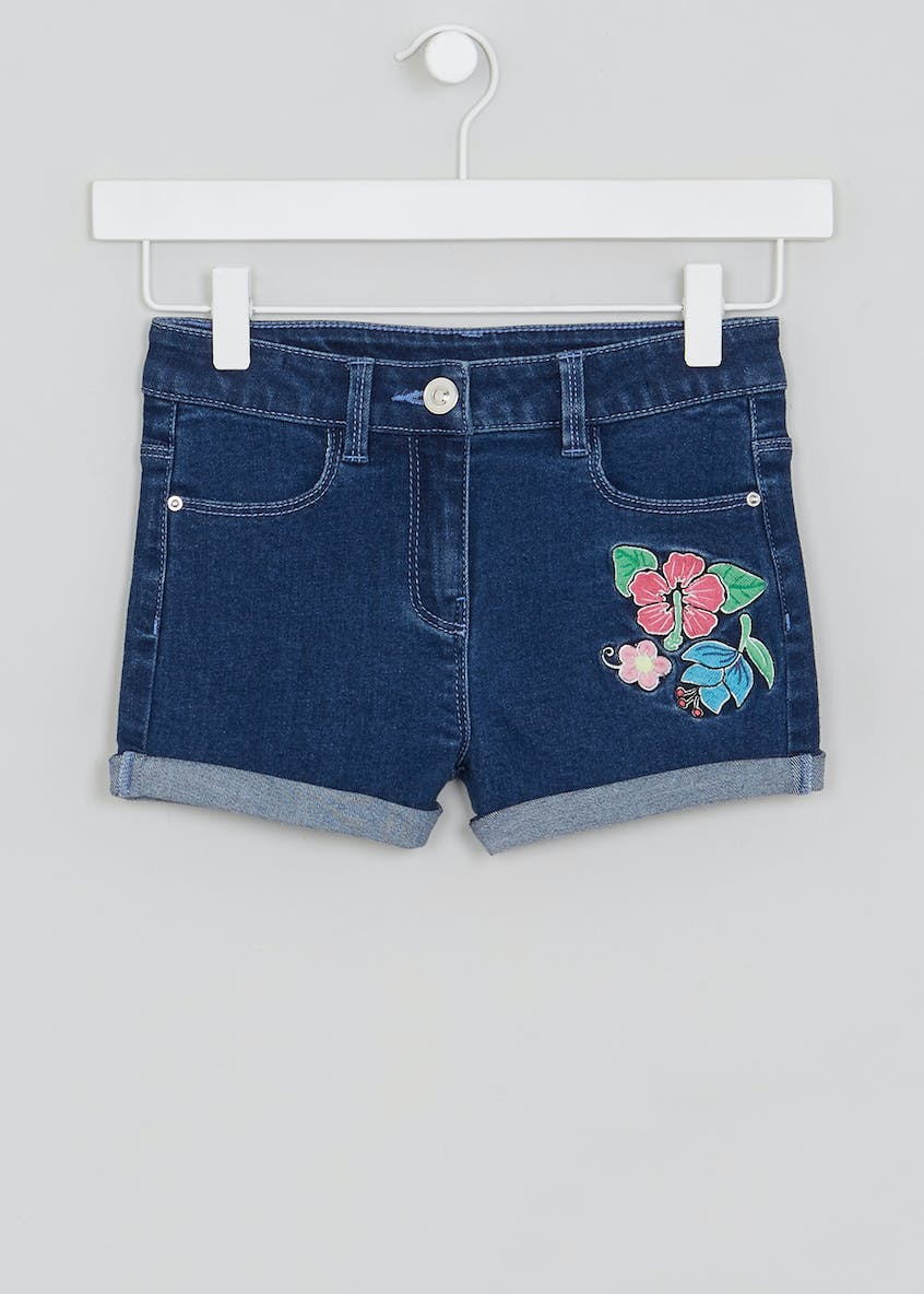 Mini Me Floral Embroidered Denim Shorts (4-13yrs)