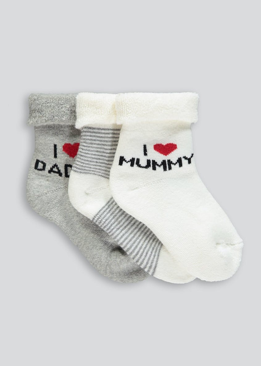 Unisex 3 Pack I Love Daddy & Mummy Socks (Newborn-8.5)