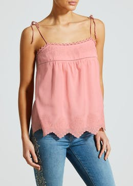 Falmer Metallised Embroidered Cami