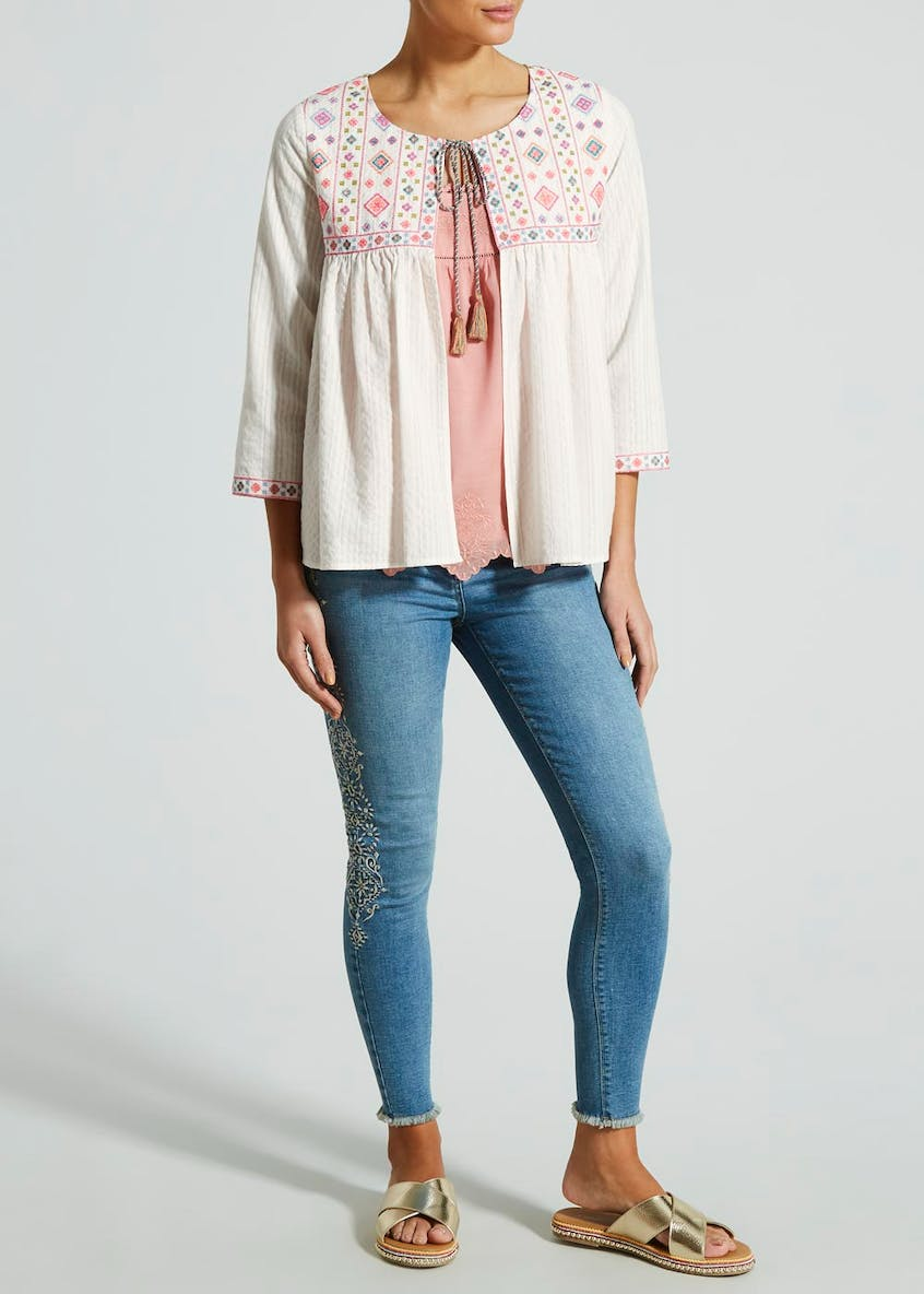 Falmer Embroidered Open Front Blouse