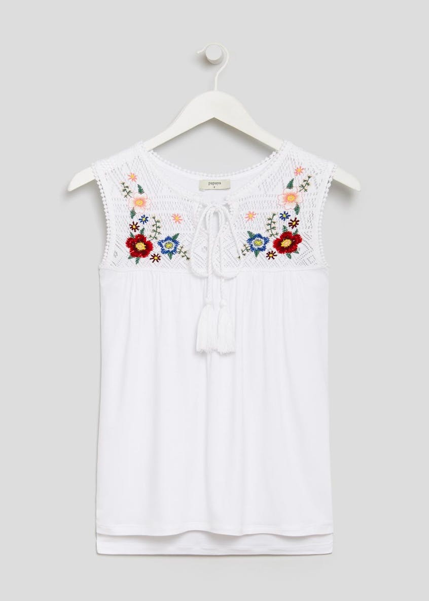 Embroidered Yoke Tassel Tie Vest Top
